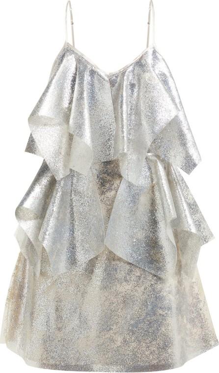 Germanier Lady Gaga glitter, silicone and satin mini dress