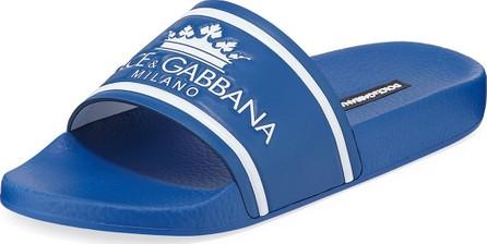 Dolce & Gabbana Men's Crown Logo Slide Sandals