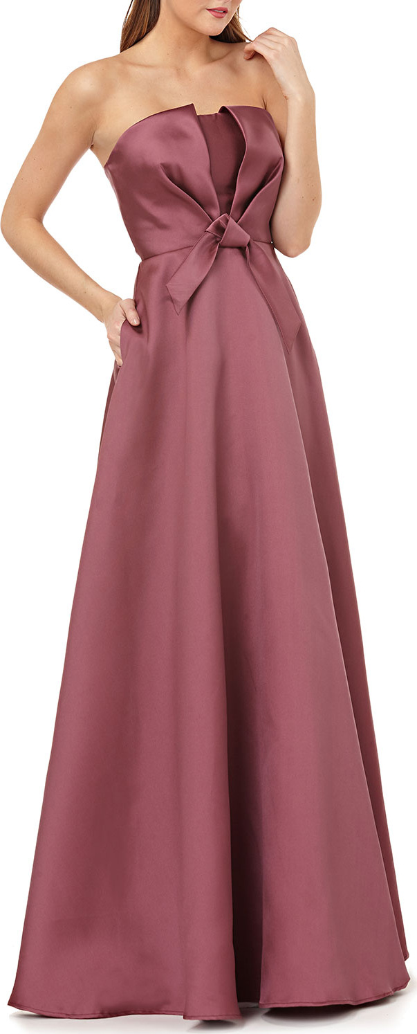 Kay Unger Strapless Ball Gown w/ Bow Bodice in Pink - mkt