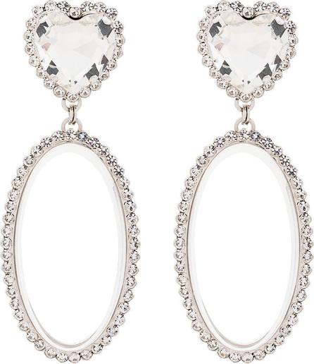 Alessandra Rich Oval heart crystal earrings