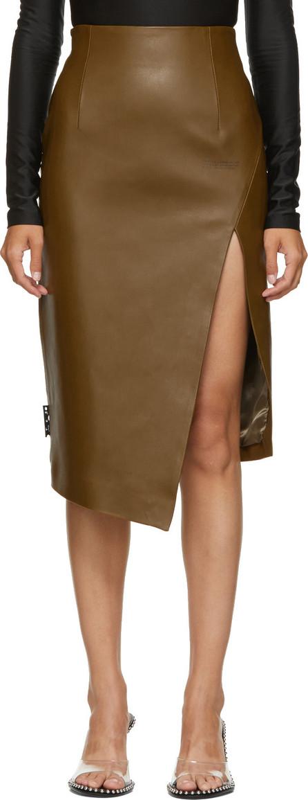 Off White Brown Leather Split Skirt