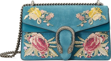 Gucci Small Dionysus Embroidered Suede Shoulder Bag