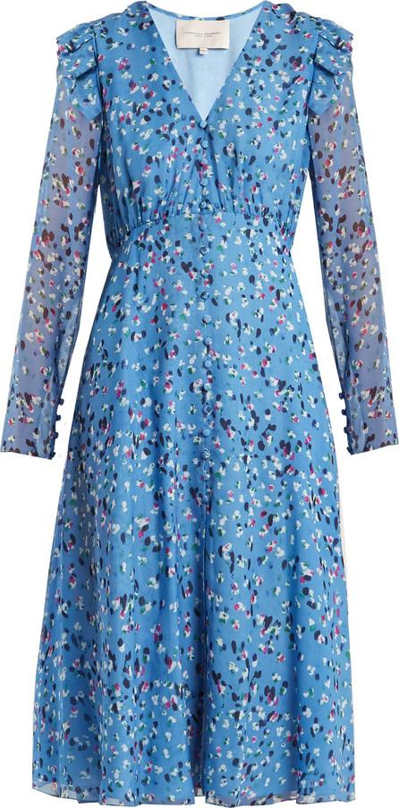 Abstract floral-print V-neck silk crepe dress
