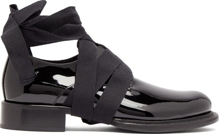 Ann Demeulemeester Ankle-tie patent leather loafers