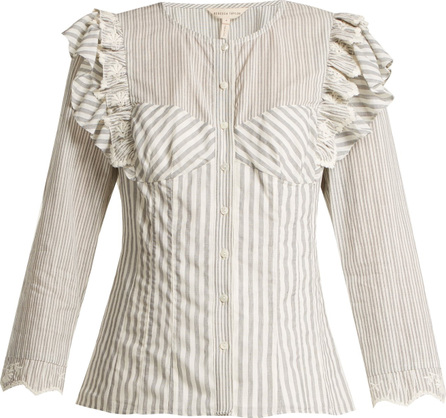 Rebecca Taylor Striped ruffle-trimmed blouse