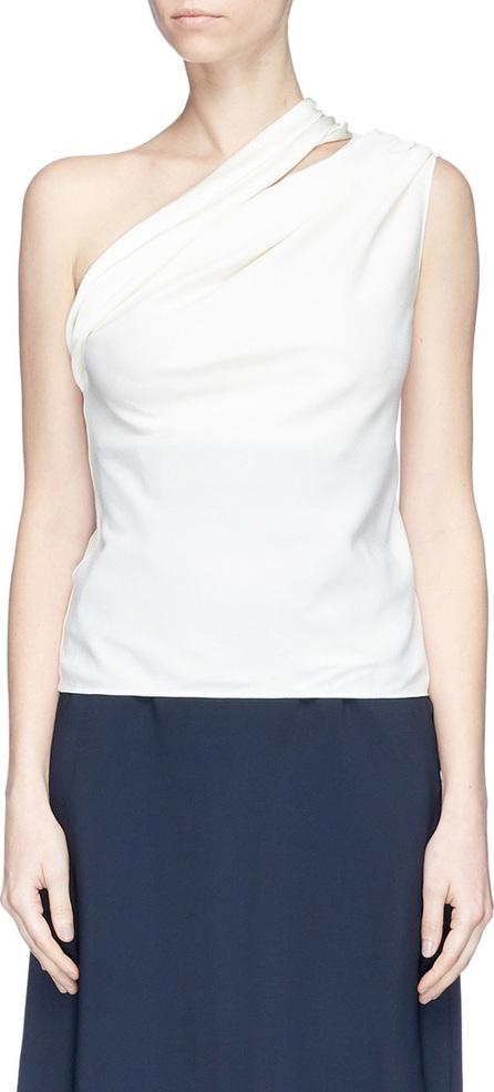 Lanvin Cutout one-shoulder satin sablé top
