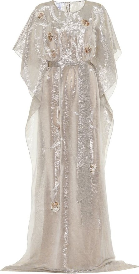 Oscar De La Renta Embellished metallic silk-blend gown