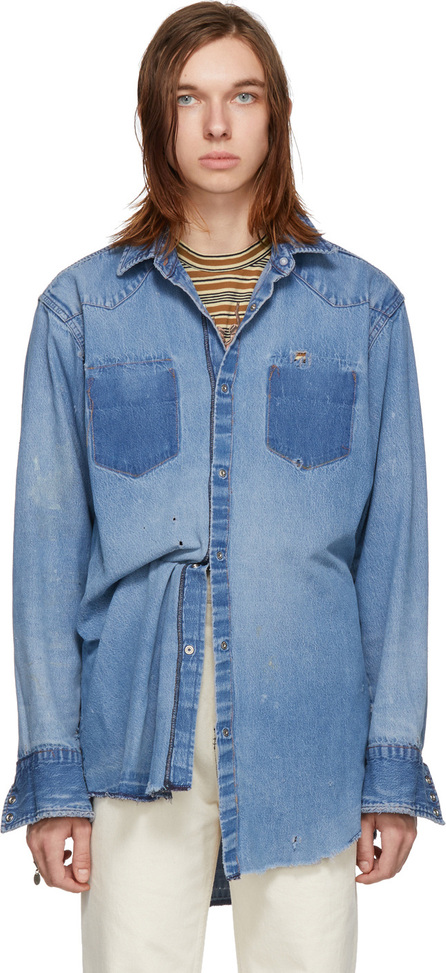 B Sides Blue Reworked Inside-Out Snap Shirt