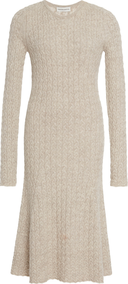 Mansur Gavriel Cable-Knit Wool And Silk-Blend Midi Dress