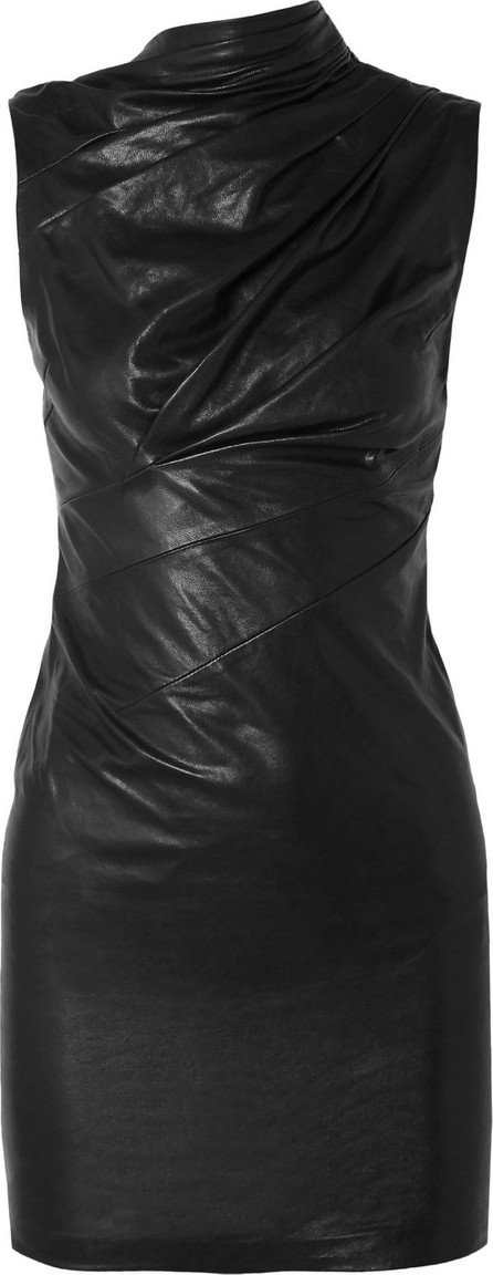 RtA Holly ruched textured-leather mini dress