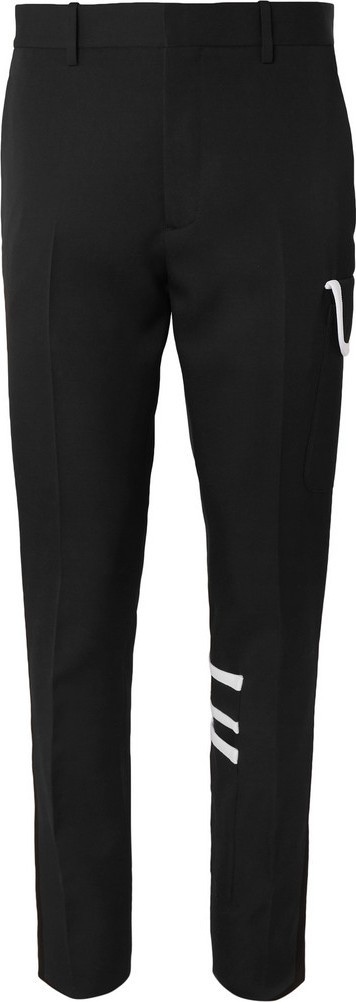 Calvin Klein 205W39NYC Black Slim-Fit Piped Wool-Gabardine Trousers