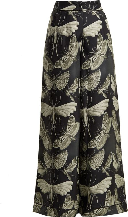 F.R.S For Restless Sleepers Moth-print wide-leg silk-twill pyjama trousers