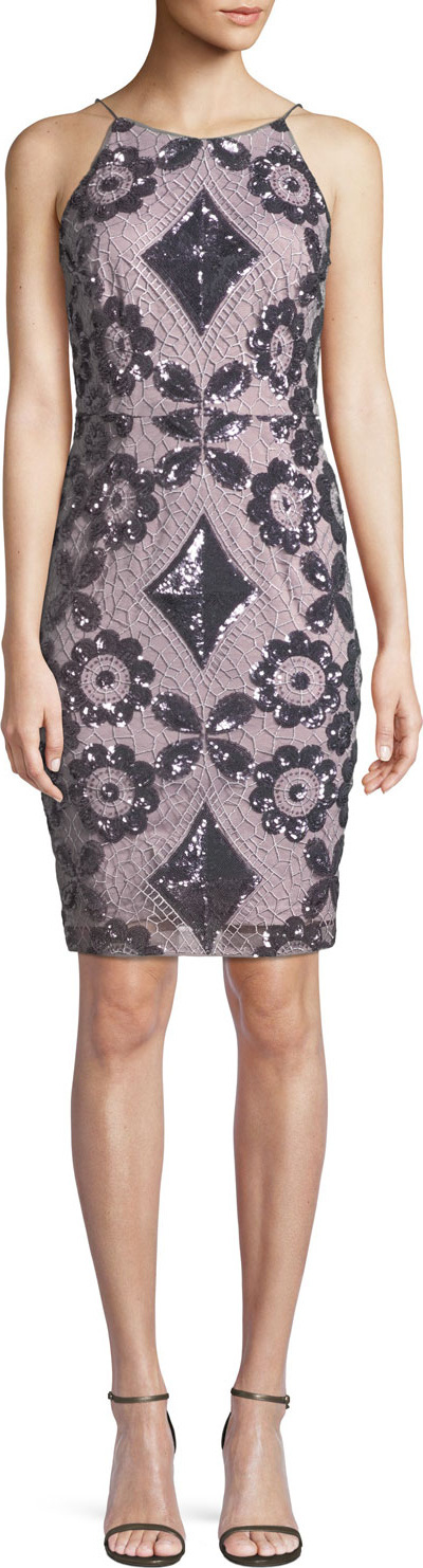 Aidan Mattox Embroidered Sequin Halter Dress
