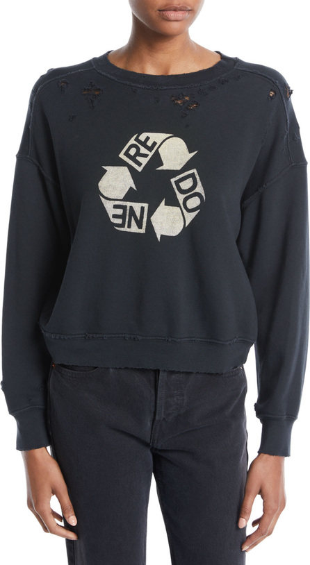 RE/DONE Recycle Distressed Crewneck Cotton Sweatshirt