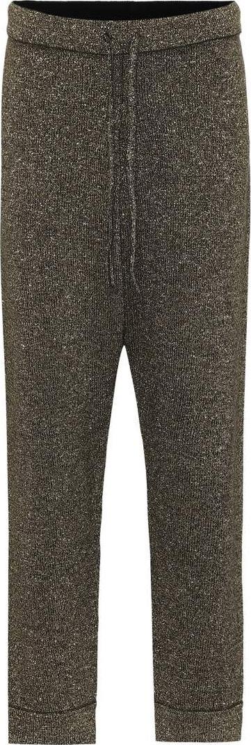 Dries Van Noten Metallic wool-blend trackpants