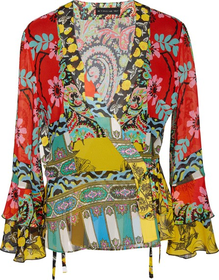 Etro Sufflock Printed Silk Wrap Top