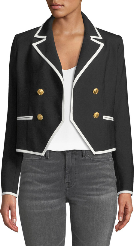 FRAME DENIM Double-Breasted Wool Jacket w/ Contrast Edges