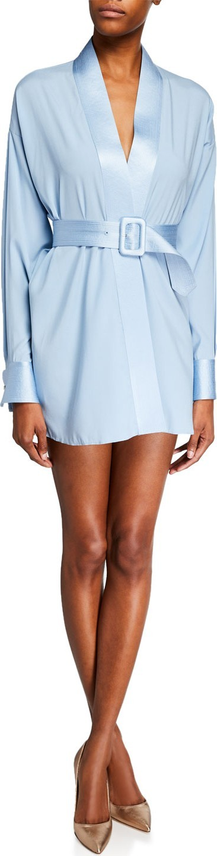 Fleur Du Mal Top-Stitch Belted Wrap Silk Dress