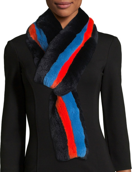 Kule Lars Striped Rectangle Fur Scarf