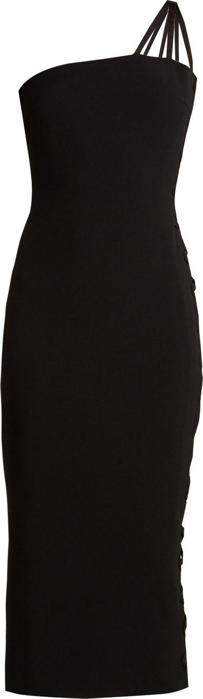 Azzaro Alpha one-shoulder lace-up cady midi dress