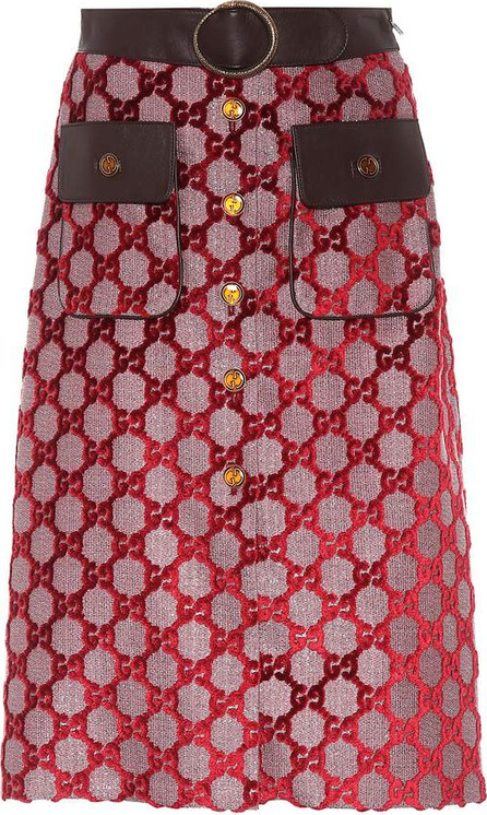 Gucci Jacquard and leather skirt