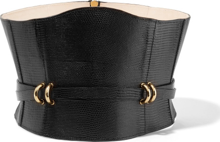 Balmain Embellished lizard-effect leather waistbelt