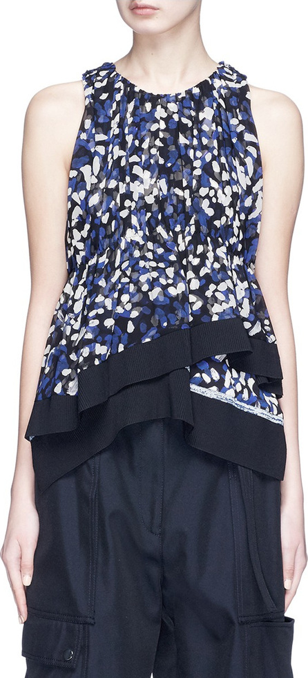 3.1 Phillip Lim Brushstroke print asymmetric tiered silk crepe top