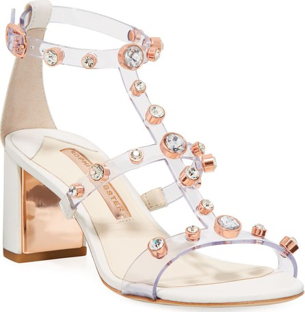 Sophia Webster Dina Crystal-Stud See-Through Sandals