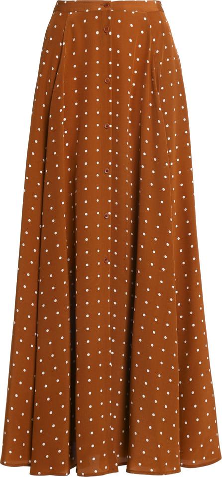 DIANE von FURSTENBERG Pleated polka-dot silk maxi skirt