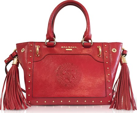 Balmain Red Leather Top Handle Mini Tote bag