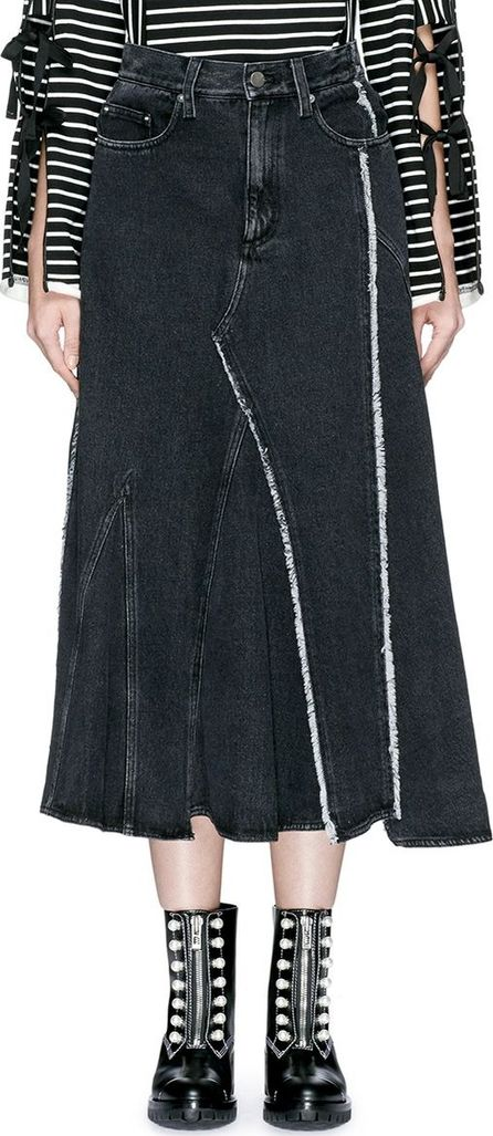 3.1 Phillip Lim Frayed panelled denim midi skirt