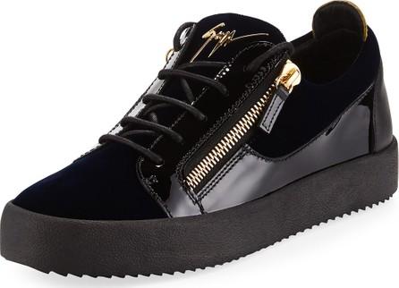 Giuseppe Zanotti Men's Velvet & Patent Leather Low-Top Sneakers