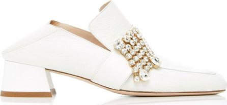 Stuart Weitzman Leather and Crystal Irises Heeled Slipper Loafers