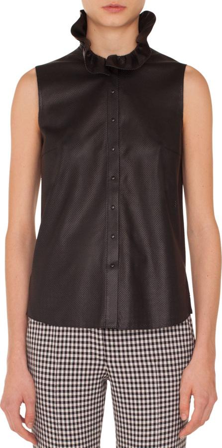 Akris Punto Sleeveless Ruffled-Turtleneck Button-Down Perforated Leather Top