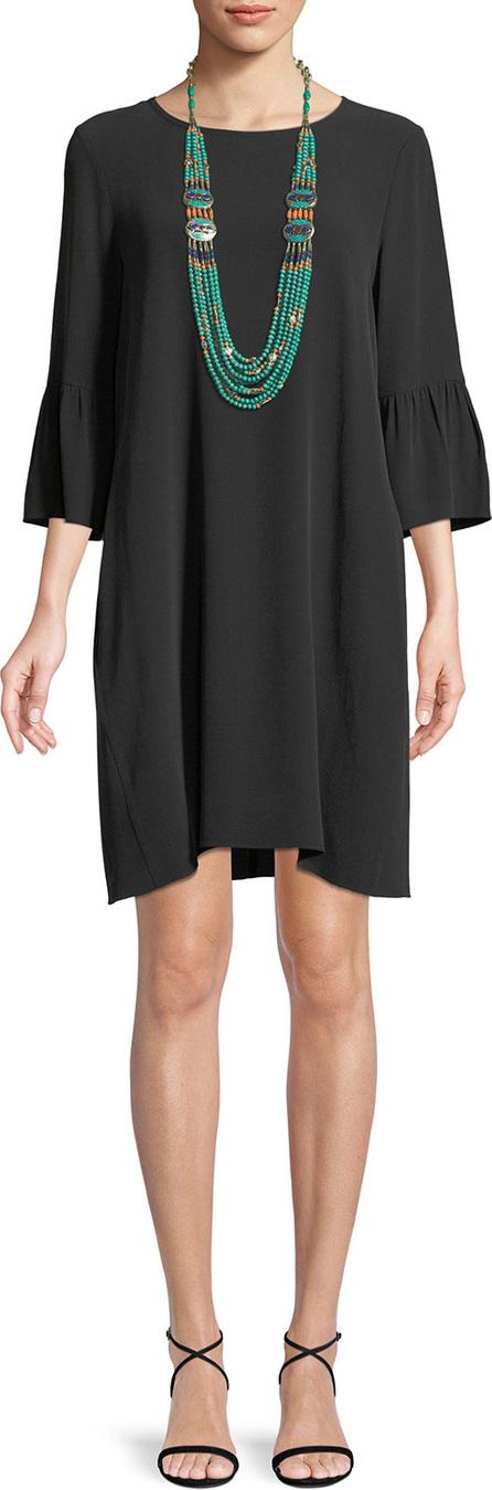 Eileen Fisher Flutter-Sleeve Silk Shift Dress