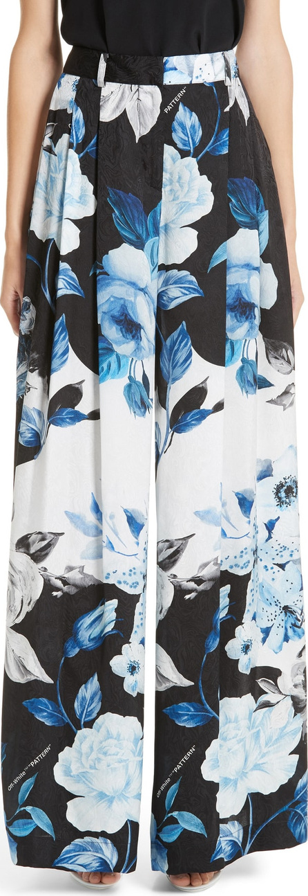 Off White Floral Wide Leg Silk Pants