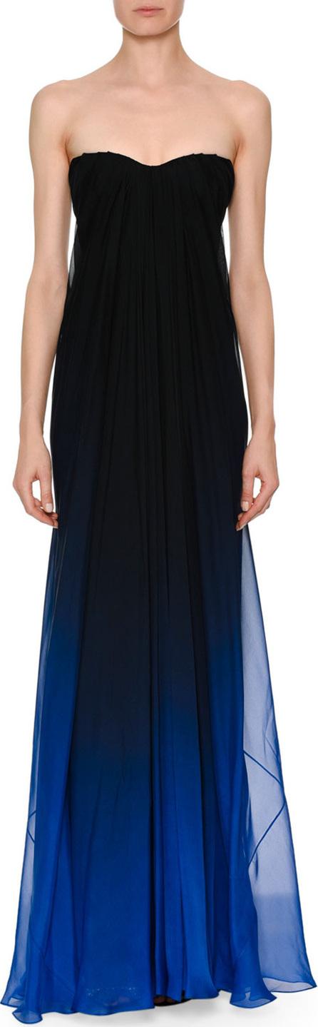 Alexander McQueen Strapless Sweetheart Chiffon Degrade Column Evening Gown
