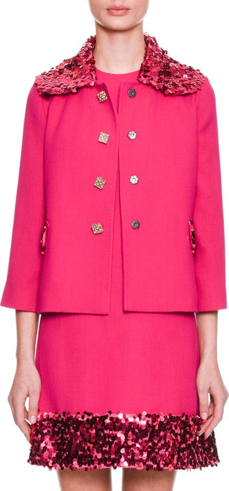 Dolce & Gabbana Jewel-Button Bracelet-Sleeve Wool-Blend Jacket w/ Sequin Jacket