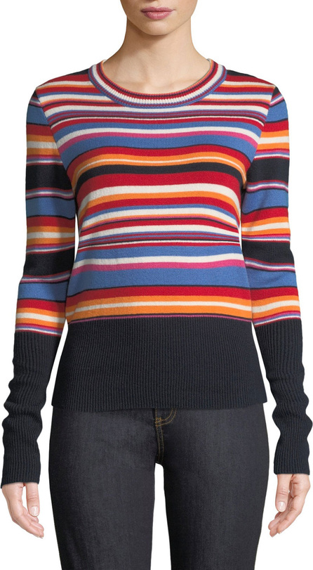 Tory Burch Striped Long-Sleeve Ribbed Sweater
