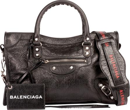 Balenciaga Classic City Small Leather Tote Bag with Logo Strap