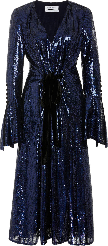 Prabal Gurung Velvet-Trimmed Bow-Detailed Sequined-Tulle Midi Dress