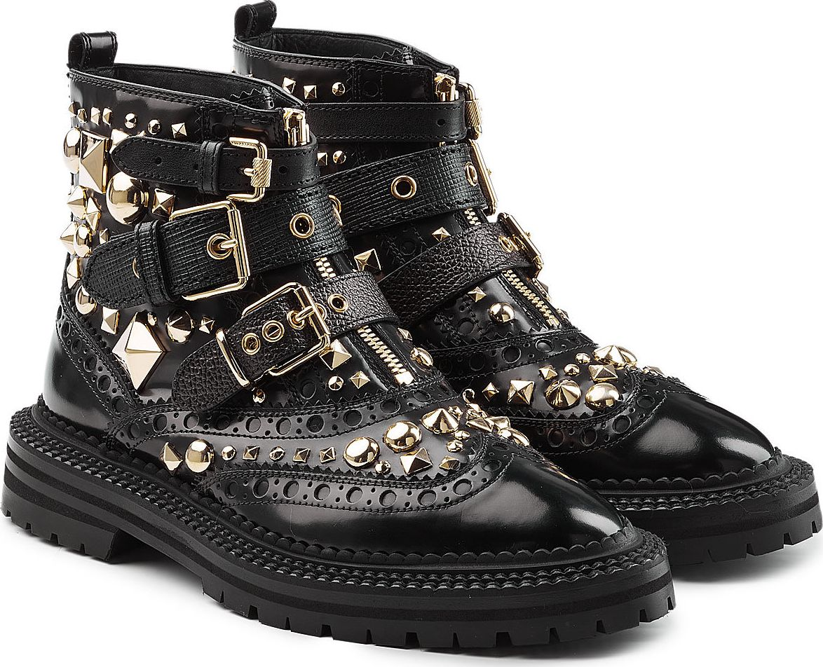 Burberry London England - Studded Leather Brogue Ankle Boots