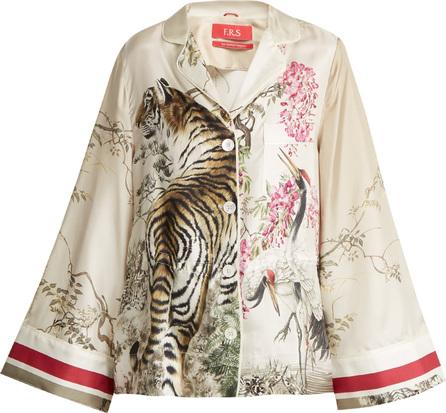 F.R.S For Restless Sleepers Emera tiger-print silk-twill pyjama shirt