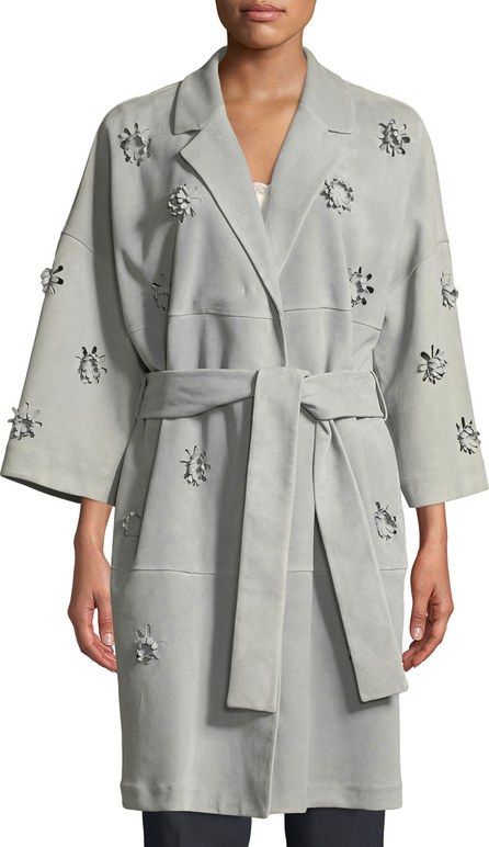 Escada 3-D Floral Belted Suede Trench Coat