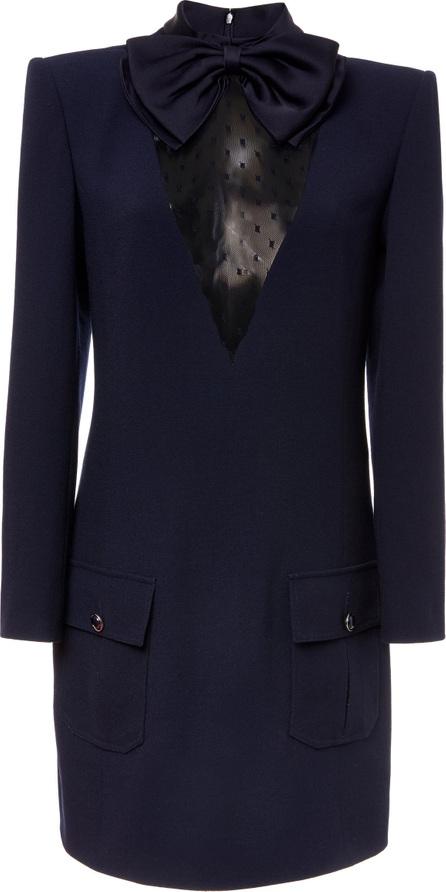 Givenchy Tulle-Paneled Wool-Crepe Mini Dress