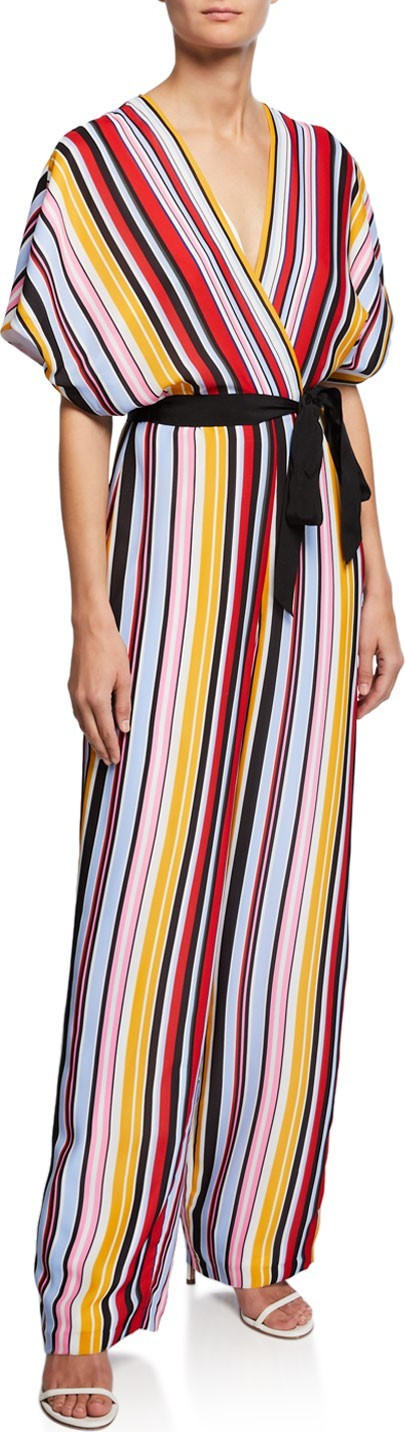 Aidan by Aidan Mattox Striped Dolman-Sleeve Belted Jumpsuit