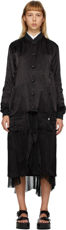 Comme Des Garçons Homme Plus Black Cupro Logo Bomber Coat