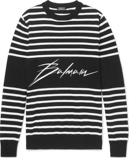 Balmain Slim-Fit Logo-Intarsia Striped Cotton Sweater