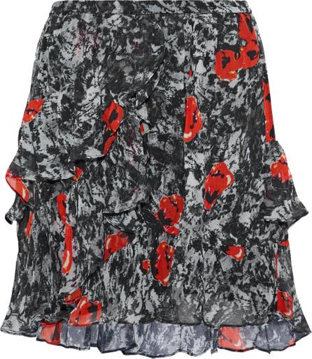 IRO Vanilla ruffled printed chiffon mini skirt