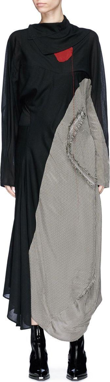 Acne Studios 'Dragica' check plaid panel drape maxi dress
